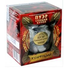 Чай черный прессованный Конфуций Pu-er Спящий Купол, банка, 82 г