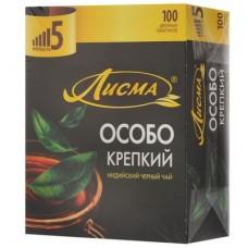 Чай черный в пакетиках для чашки,Лисма Крепкий черный, 100*2 г.