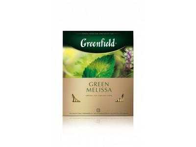 Чай зеленый в пакетиках для чашки Greenfield Green Melissa (Гринфилд Грин Мелисса), 100*1,5 г
