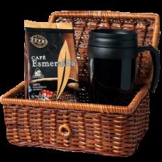 Кофе в зернах 250 г Cafe Esmeralda + термокружка, в корзине