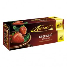 Чай черный в пакетиках для чашки, Лисма Крепкий Клубника 25*1,5 г.